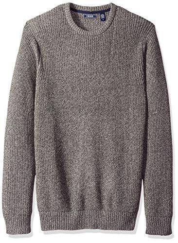 IZOD Men's Newport Marled 7 Gauge Crewneck Sweater, Light Grey Heather, Small