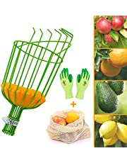Colwelt Fruit Picker Tool, Twist-On Fruit Picking Equipment with Cushion to Prevent Bruising, Fruit Picker Harvester Basket with Extra Fruit Carrying Bag for Getting Apple Avocados(Pole not Included)