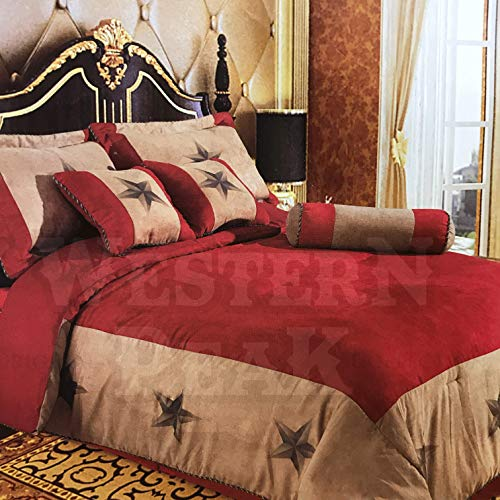 (Western Peak Embroidery Printed Texas Western Star Luxury Comforter Suede 7 Pieces Set King Red)