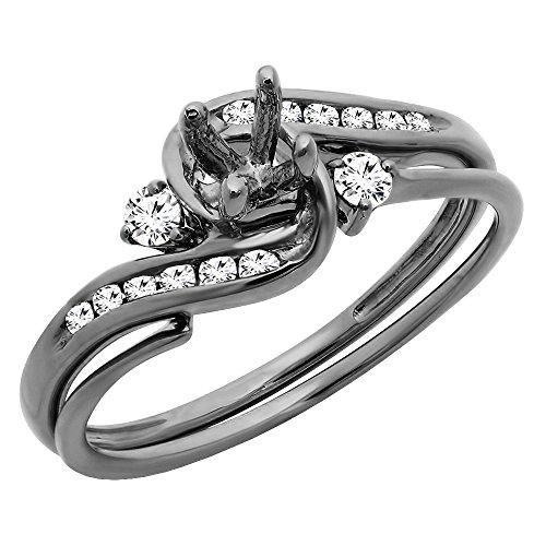 Dazzlingrock Collection 0.28 Carat (ctw) Black Rhodium Plated 10K Round Diamond Semi Mount Ring 1/4 CT, White Gold, Size 5