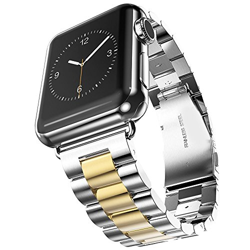 U191U Band Compatible with Apple Watch 42mm Stainless Steel Wristband Metal Buckle Clasp iWatch Strap Replacement Bracelet for Apple Watch Series 3/2/1 Sports Edition (Silver/Gold, 42MM)