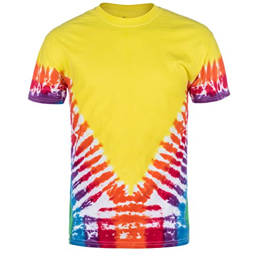 Magic River Handcrafted Tie Dye T Shirts - Rainbow Vee - Adult Medium - Hand Adult T-shirt