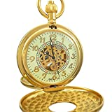 Ogle Vintage Roman Gold Copper Double Open Cover Chain Fob Self Winding Automatic Mechanical Pocket Watch/Black Dial (Luminous Dial)
