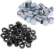 40Pcs Skateboard Truck Wheels Axle Nuts Black + 40pcs Bearings Spacers Hardware Silver