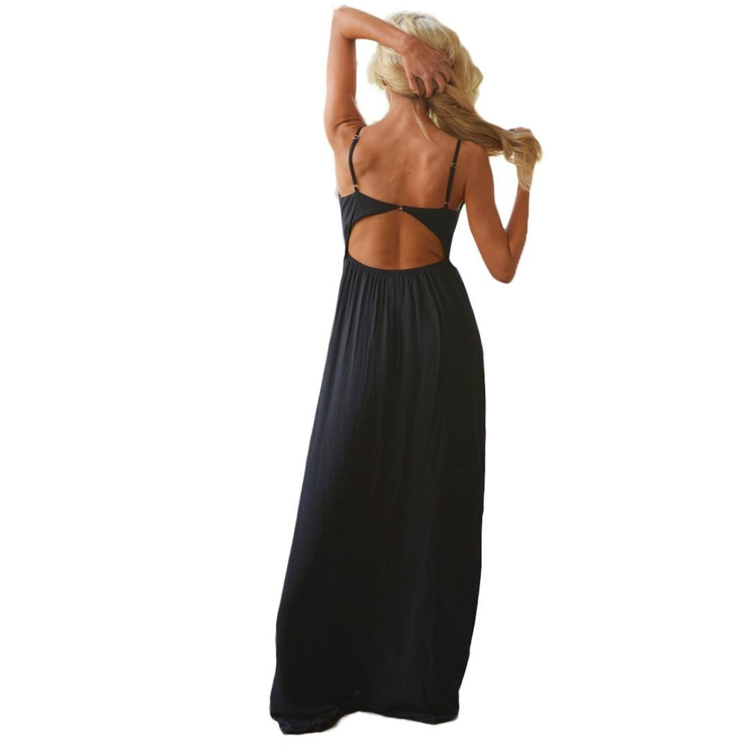 Usstore Women Camisole Long Dress Cotton Sleeveless Dresses (XL, Black) by Usstore (Image #3)
