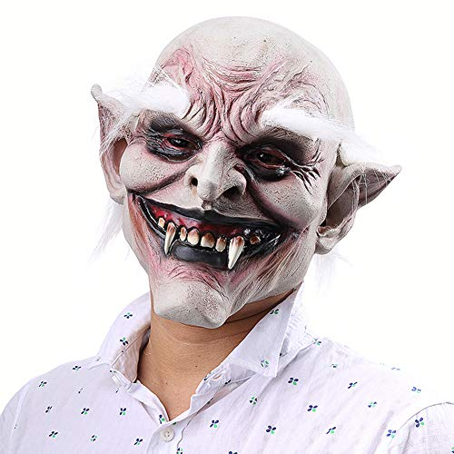 Bingirl Unisex Scary Old Demon with White Eyebrows Mask Latex Costume Head Mask for Halloween Party Prop Happy Festival -