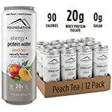 Foundation Fitness Energy & Protein Water, Peach Tea, Ready to Drink, 20g Protein, Natural Flavors & Sweetener, 0g Sugar, 11 fl oz, (Pack of 12)