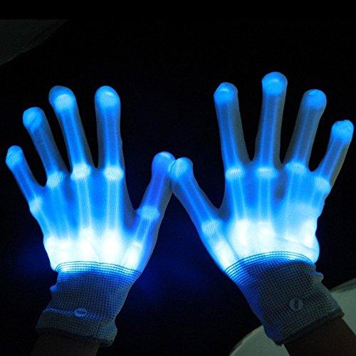 LED Gloves-Flashing Light Finger Gloves,Skeleton Hand 6 Modes Gloving & Lightshow Dancing Gloves for Clubbing, Rave,Halloween, Birthday, EDM, Disco, and Dubstep Party. (Rave Gloving)