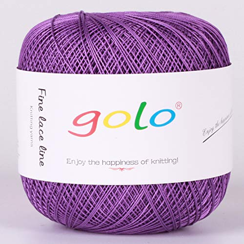 Crochet Thread Yarns for Begingers Size8-100% Contton Yarn for Knitting Crochet DIY Hardanger Cross Sitch Crochet Thread Balls Rainbow Turquoise 31 Colors Avilable (Violet) ()