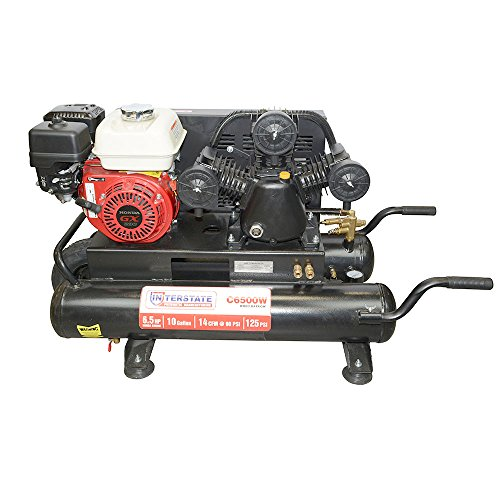 Interstate Pneumatics C6500W Gasoline Powered Air Compressor - 6.5 HP Honda GX200 Engine,10 Gallon horizontal tank