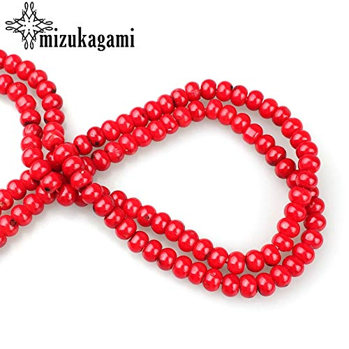 (Calvas 34pcs/lot Red Rondelle Coral Beads Finding Making Charms 68mm 20cm for DIY Jewelry Making)