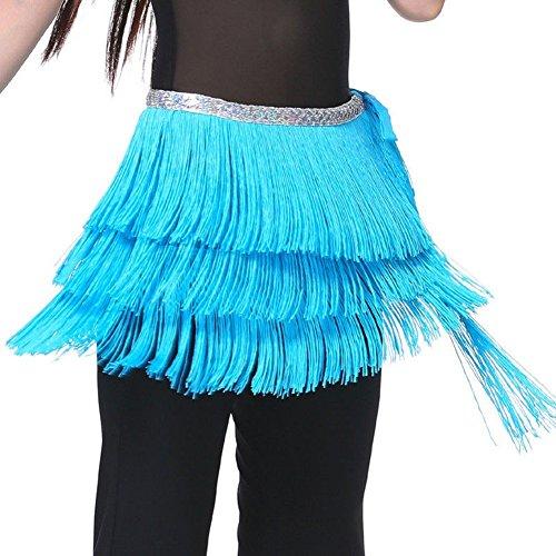 30s Dance Costumes (Pilot-trade Lady's Belly Dance Costume Hip Scarf Belt Tribal Fringe Tassel wrap Belt Light Blue)