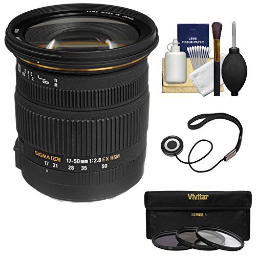 Sigma 17-50mm f/2.8 EX DC OS HSM Zoom Lens with 3 Filters Kit for Canon EOS 6D, 70D, 7D, 5DS, 5D Mark II III, Rebel T5, T5i, T6i, T6s, SL1 Camera