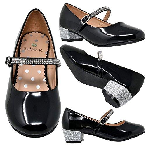 5c5dbc8f3 Girls SOBEYO Girls Low Heels Pumps T-Strap Bow Accent Glitter Rhinestone  Mary Jane Kids Sandals ...
