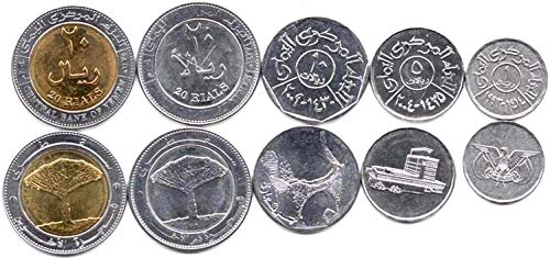 Yemen 5 Coins Set 1993 UNC 1-20 RIALS Collectible Coins to Your Coins Album, Coin Holders OR Coin Collection