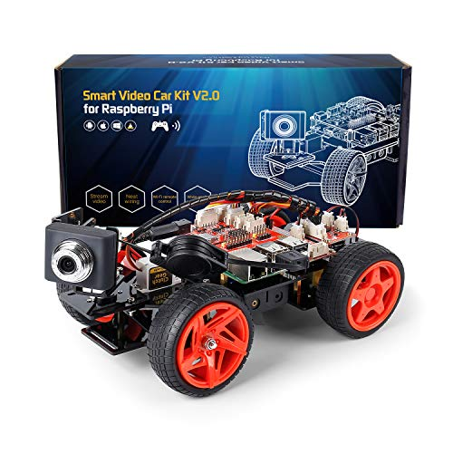 SunFounder Smart Video Car Kit V2.0 Raspberry Pi 4 Model B 3B+ 3B 2B Graphical Visual Programming Language Remote Control by UI on Windows Mac Web Browser Electronic Toy with Detail Manual (Best Programming Language For Robotics)