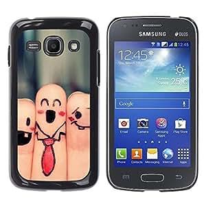 Be Good Phone Accessory // Dura Cáscara cubierta Protectora Caso Carcasa Funda de Protección para Samsung Galaxy Ace 3 GT-S7270 GT-S7275 GT-S7272 // Fingers Faces Funny Drawing Smile