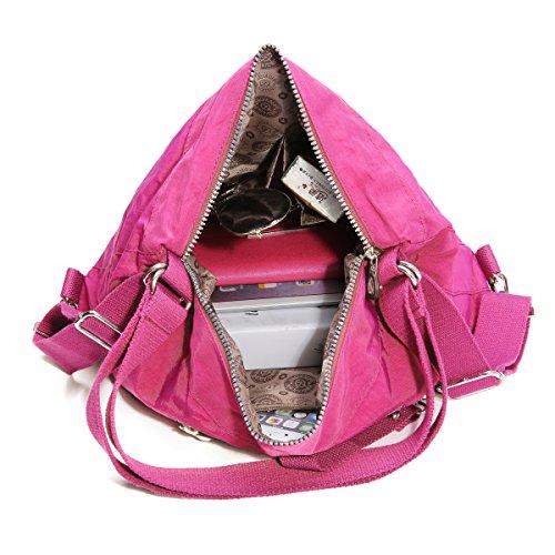 Leggero versatile Borse e funzione zaino a tracolla rosso nylon borse Tezoo donna rose borsa multi tracolla moda in a da ZwZfxqTr