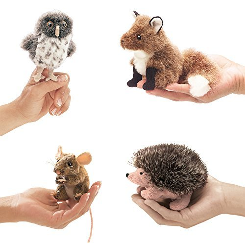 Folkmanis Finger Puppets For Kids - Great Props for Theater, Preschool Activities, Puppet Shows - Animal Puppets Set (Puppet Finger Kit)