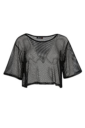 43120bad16a Womens Ladies Cap Sleeve High Low Fishnet Mesh Oversized See Through  Cropped Top  Amazon.co.uk  Clothing