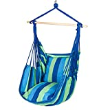 Y-STOP Hammock Chair Hanging Rope Swing Seat Superior Comfort for Indoor or Outdoor Spaces, Yard, Bedroom, Patio, Porch-275 lbs Capacity,2 Seat Cushions Included With hook