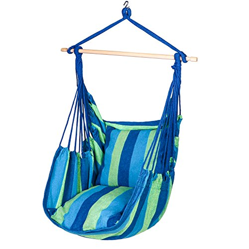 Y-STOP Hammock Chair Hanging Rope Swing Seat Superior Comfort for Indoor or Outdoor Spaces, Yard, Bedroom, Patio, Porch-275 lbs Capacity,2 Seat Cushions Included with Hook (Blue & Green Stripes)