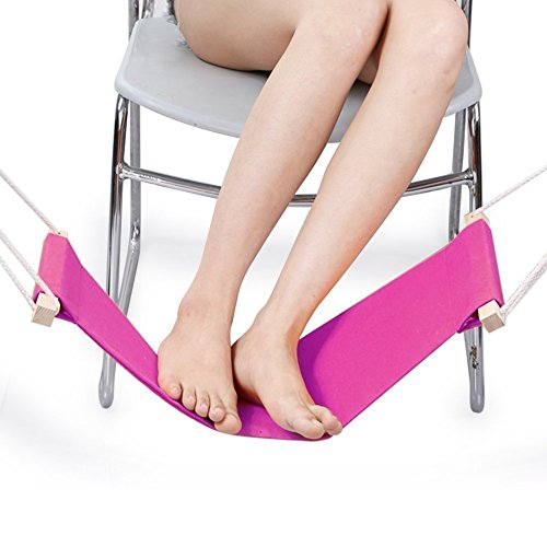 DMcore Canvas Foot Rest Hammock, Adjustable Mini Foot Rest Stand Under Desk for Home and Office (Pink) by DMcore