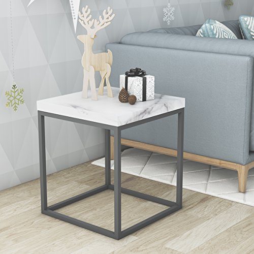 Roomfitters Side End Table Marble Print Top Metal Frame Industrial Living Room Square Chairside Table,White End Table (Bedroom Black Tables End)