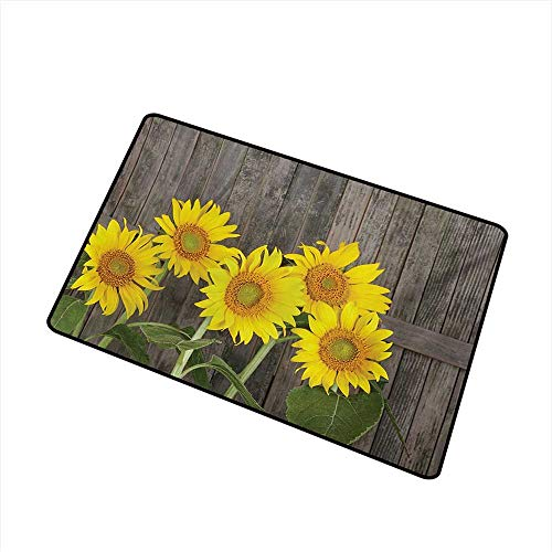 (Becky W Carr Sunflower Welcome Door mat Helianthus Sunflowers Against Weathered Aged Fence Summer Garden Photo Door mat is odorless and Durable W23.6 x L35.4 Inch,Brown Yellow)