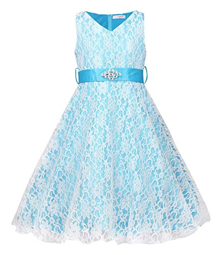 MOREMOO Kids Princess Lace Satin Bridesmaid Pageant Flower Girl Dress(Light Blue Tag 10 years/9-10) -