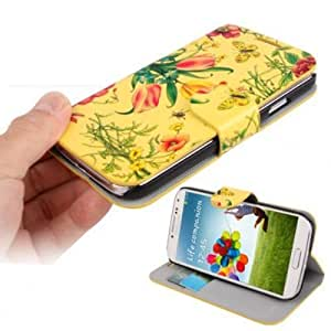 El caso del tirón amarillo estampado de flores Samsung Galaxy S4 / GT-I9505 / GT-i9500, Galaxy S4 / GT-I9506 + LTE Case Negocios atril con el bolsillo de tarjeta de crédito