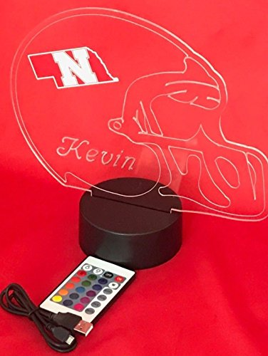 (Nebraska Cornhuskers NCAA College Football Helmet Light Up Lamp University of Nebraska-Lincoln Lamp LED Personalized, Our Newest Feature - It's Wow, with Remote 16 Colors, Free Engraved, Great Gift)