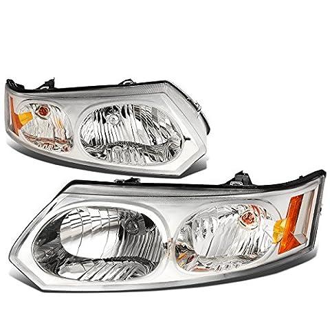 Saturn Ion Pair of Headlight Lamp (Chrome Housing Amber Corner) sedan GM (Hid Saturn Ion)