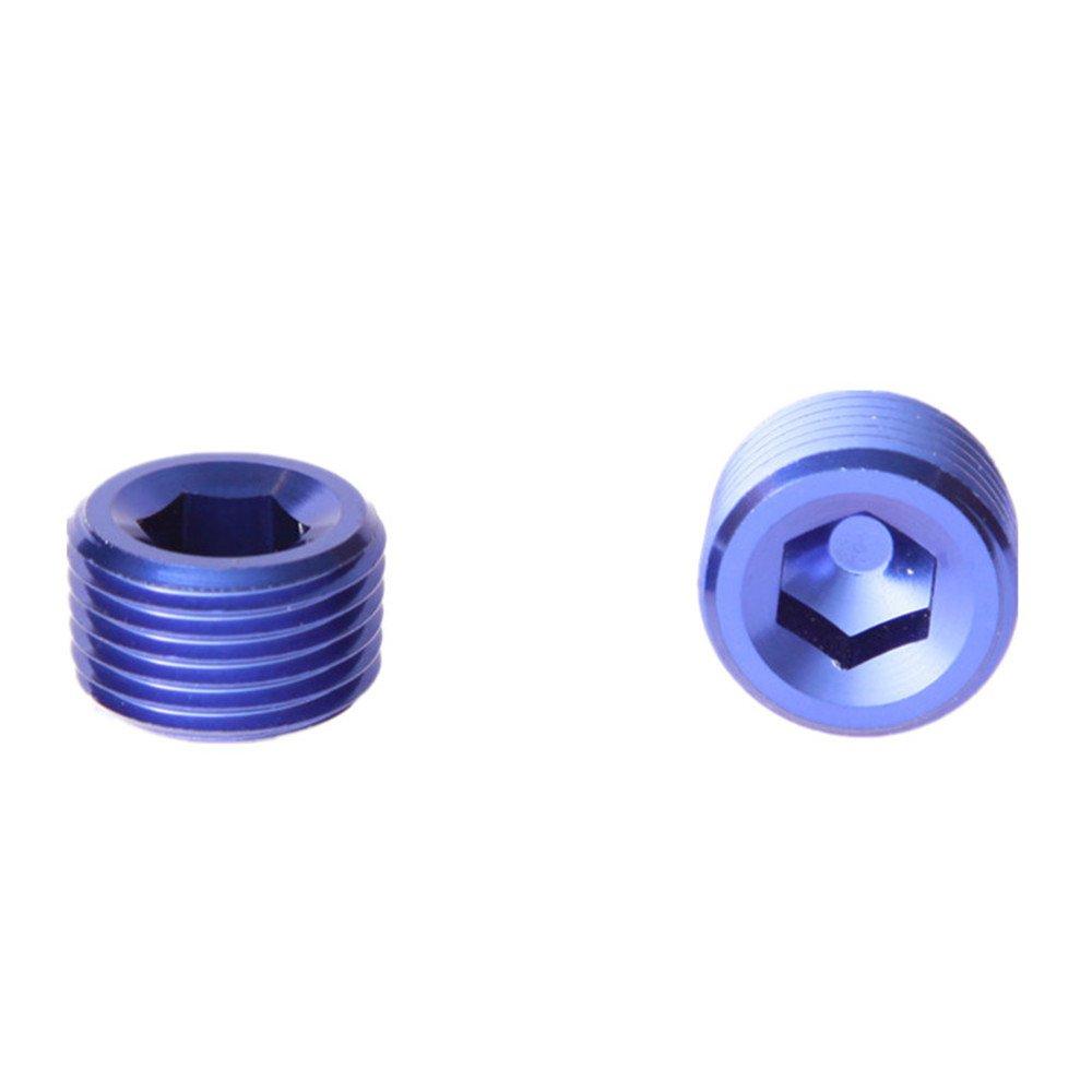 1/4'Inch NPT Pipe Thread Allen Socket Aluminum Plug Blue AdlerSpeed