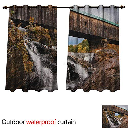 Anshesix Landscape Home Patio Outdoor Curtain Old Rustic Oak Covered Bridge Over Cascading Waterfalls Rock Fall Season American City W55 x L45(140cm x 115cm)