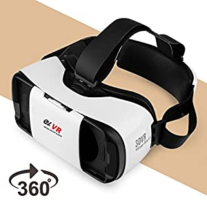 3D VR Headset, EV Virtual Reality Glasses for 3D Movie Game, Compatible with iPhone & Android, Apple, Samsung, HTC, LG, for 4.7-5.7 inch Smartphones