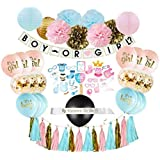 Gender Reveal Party Supplies (75 Pieces) with Photo Props, 36 Inch Reveal Balloon