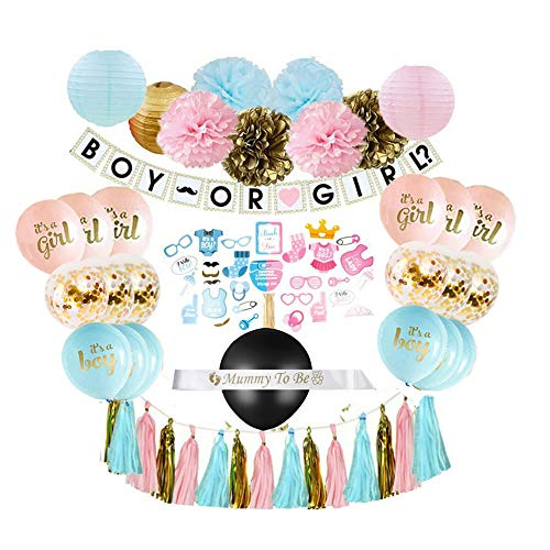 Gender Reveal Party Supplies (75 Pieces) with Photo Props, 36 Inch Reveal Balloon and Sash - Premium Baby Shower Decorations Set - Confetti Balloons, Boy or Girl Banner, Paper Lanterns -