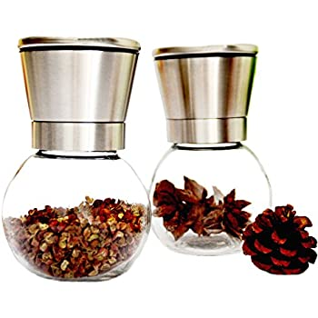 Guluman (2 pcs) Glass & Stainless Steel Salt and Pepper Grinder Set - Brushed Stainless Steel Pepper Mill & Salt Mill Shakers with Adjustable Ceramic Rotor