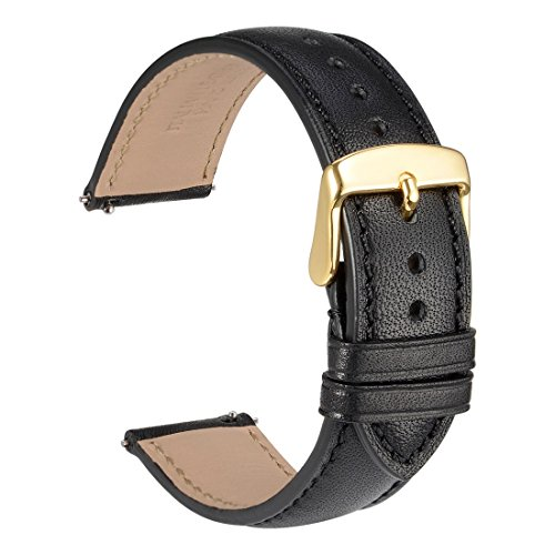 (WOCCI 18mm Full Grain Leather Watch Band with Gold Buckle, Quick Release Strap(Black with Tone on Tone Seam))