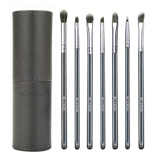 Makeup Eye Brushes 7pc Set – Premium Synthetic Eyeshadow Blending Brushes with Case for Shading Blending Eyebrow…