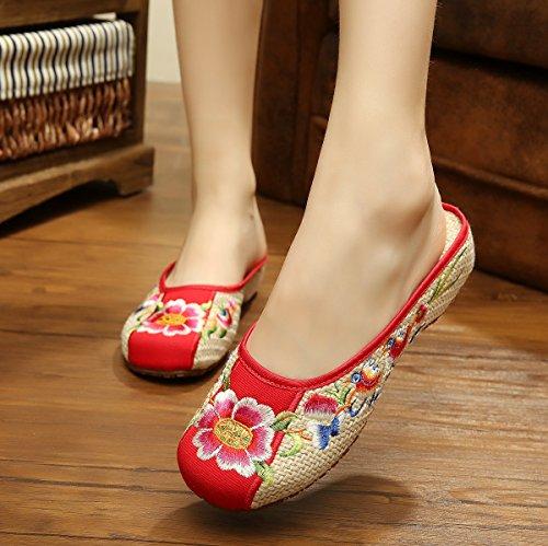 &qq Fine di fiori/lino/ricamo/tendine/ethnic ricamo/pantofole/donne/elegante/confortevole/casa/tradizionale cinese , beige , 36