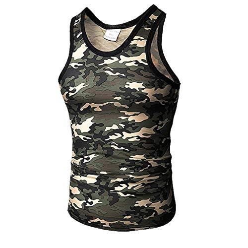 OrchidAmor 2019 Mens Summer Casual Slim Fit Sport Camouflage Elastic Short Tops Vest