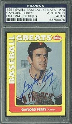 Giants Gaylord Perry Signed Card 1991 Swell Baseball Greats #70 Slabbed - PSA/DNA Certified - Baseball Slabbed Autographed Cards ()