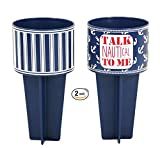 Beach Buddy Outdoor Lawn Sand Cup Holder (2, Dark Blue and Talk Nautical To Me)