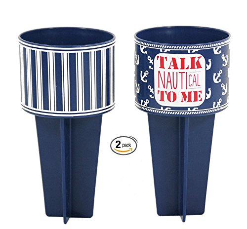 Beach Buddy Outdoor Lawn Sand Cup Holder (2, Dark Blue and Talk Nautical To Me) by Beach Buddy