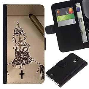 Stuss Case / Funda Carcasa PU de Cuero - Croix de Chevalier christianisme croisade Art dessin au crayon - Samsung Galaxy S4 Mini i9190