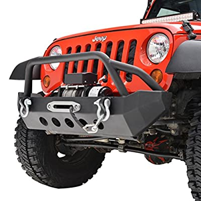 GSI 07-16 Jeep Wrangler JK Black Textured Rock Crawler Front Bumper with Winch plate