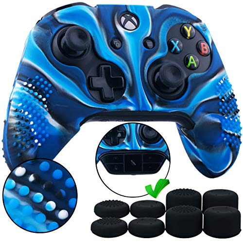 (9CDeer 1 Piece of Studded Protective Silicone Cover Skin Sleeve Case + 8 Thumb Grips Analog Caps for Xbox One/S/X Controller Camouflage blue compatible with Official Stereo Headset Adapter)