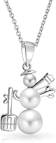 Charm Crystal Snowman White Pearl Pendan Necklace Jewelry Long Chain Pendant New